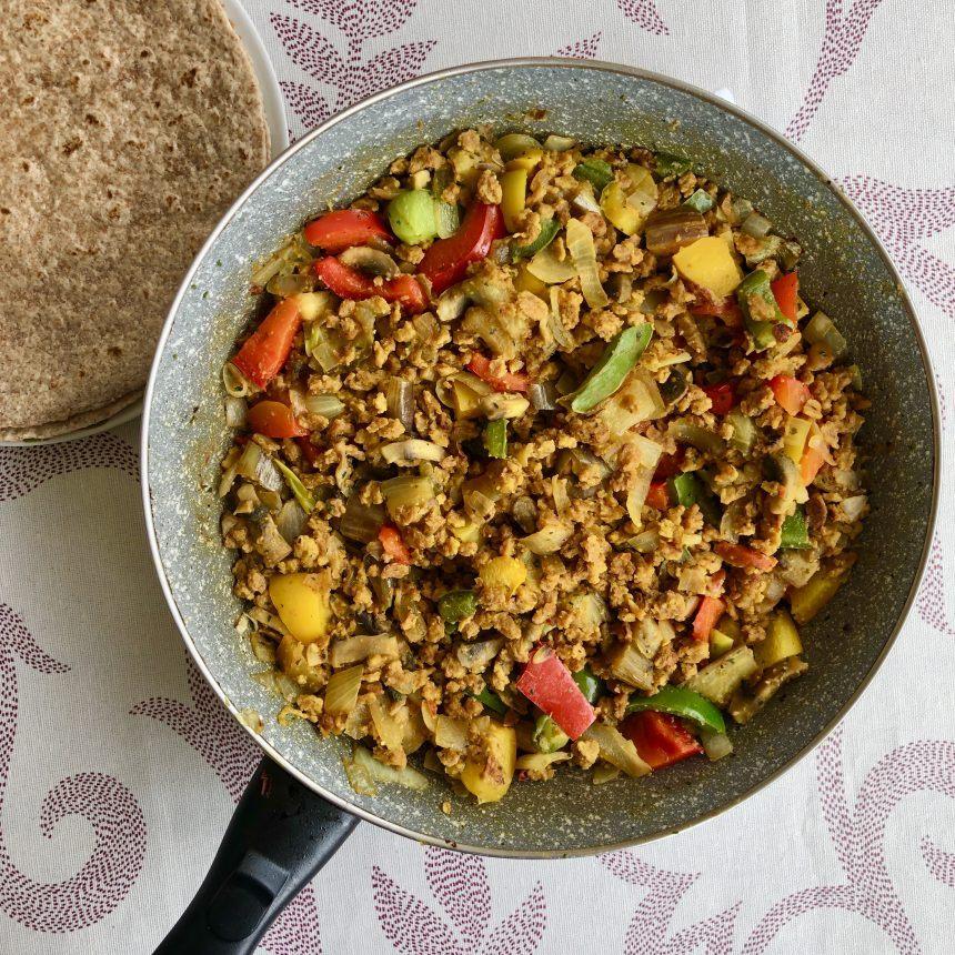 Fajitas veganas con soja texturizada